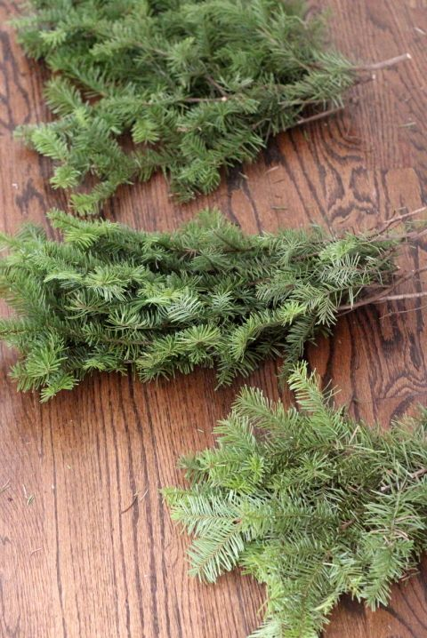 How To Make A Wreath In Half An Hour For Free Leftover Christmas Tree Christmas Tree Branches Christmas Branches