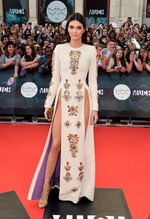 Kendall Jenner's Fausto Puglisi embellished gown with pelvic-revealing slits at the MuchMusic awards