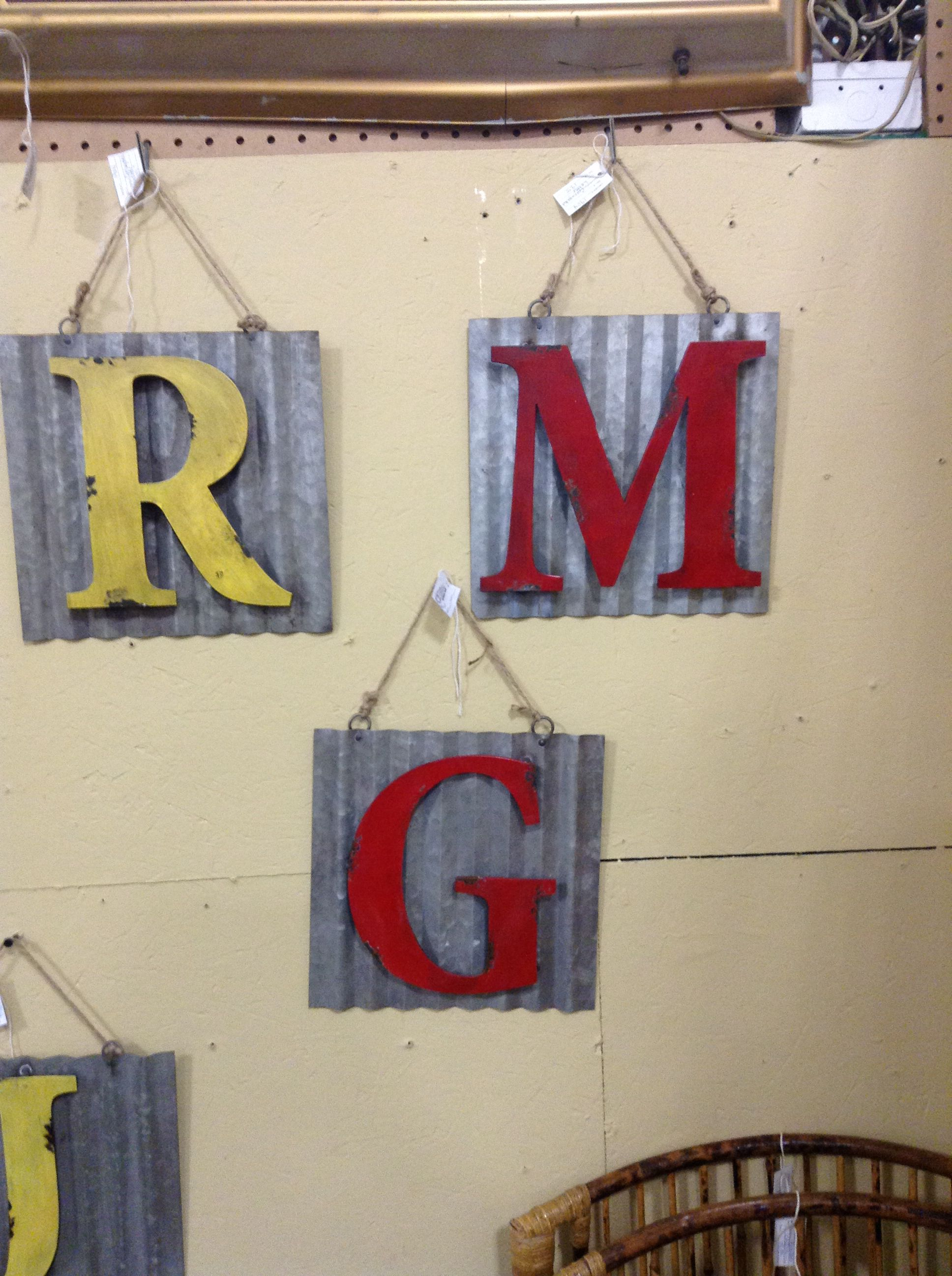 Metal letter squares, great for initials and wall decor !