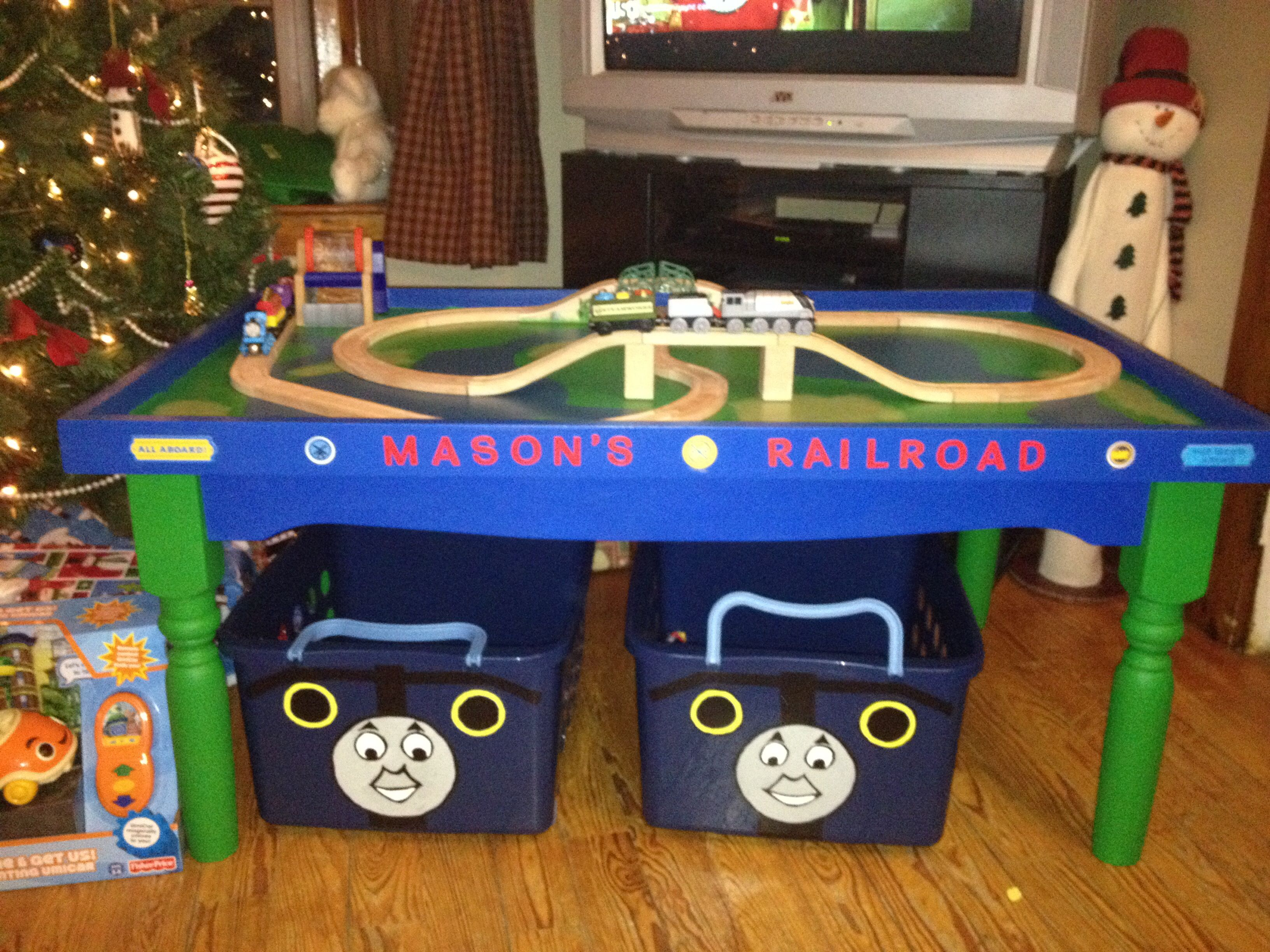 DIY Train Table And Storage Baskets