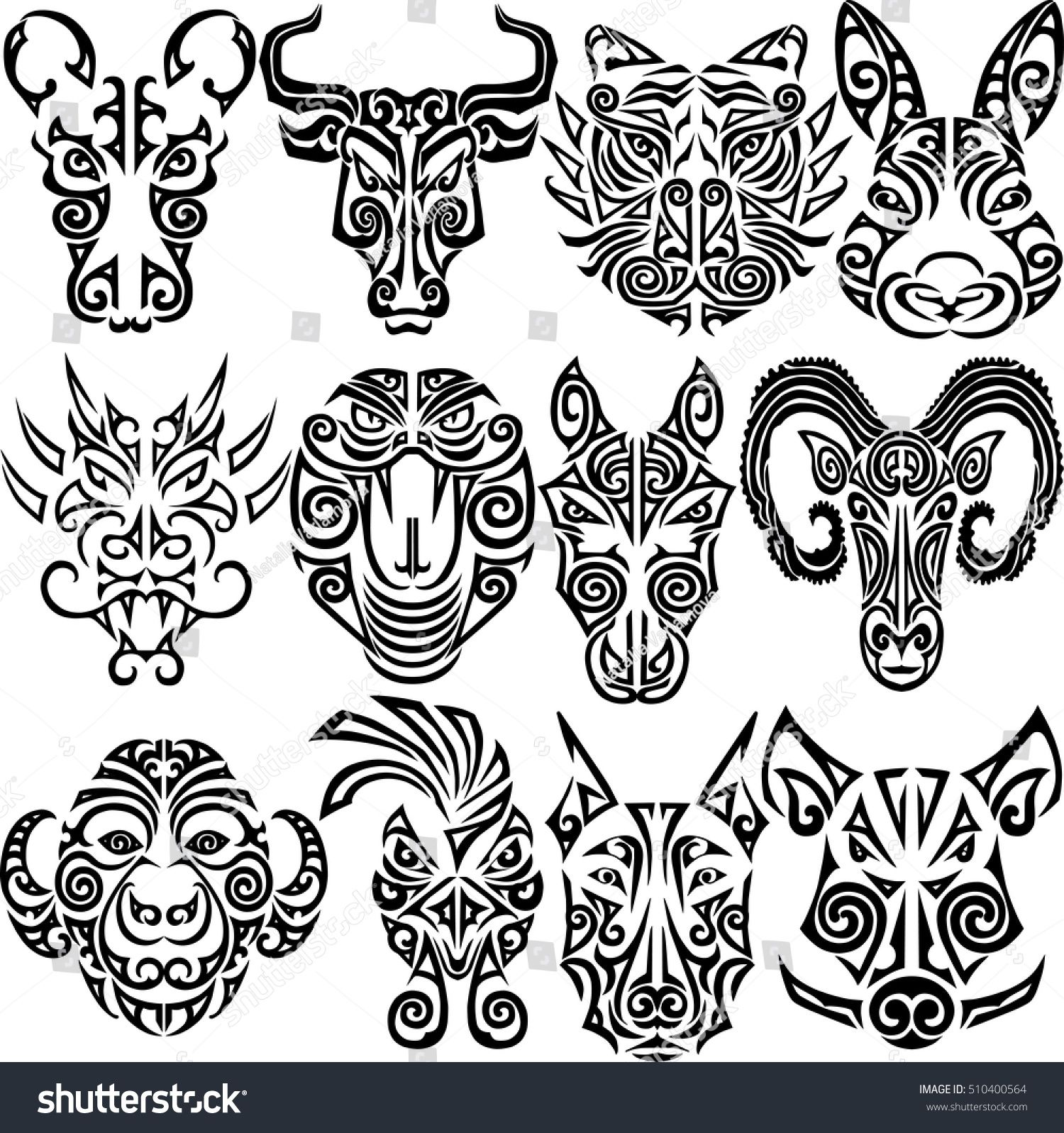 Chinese Zodiac Signs Set Rat Ox Bull Tiger Rabbit Dragon Snake Horse Ram Monkey Rooster Dog Boar Chinese Zodiac Tattoo Maori Tattoo Rooster Tattoo