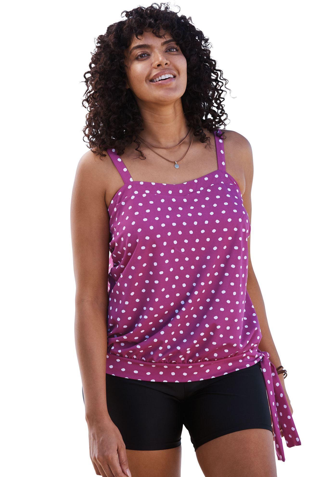 34ed37dc3d5 Side-tie #tankini top with blouson by Swim 365 - Women's Plus Size Clothing