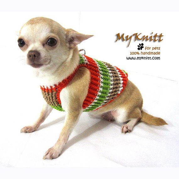 Orange Green Dog Harness Sweater Cat Collar Puppy by myknitt, $28.00 ...