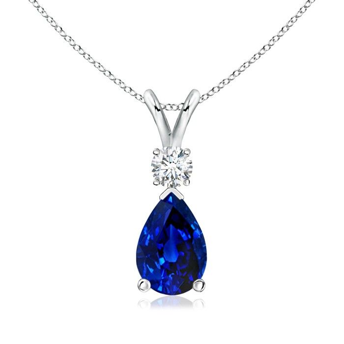 Angara Solitaire Sapphire V-Bale Pendant with Diamond in Yellow Gold KGkEXzk