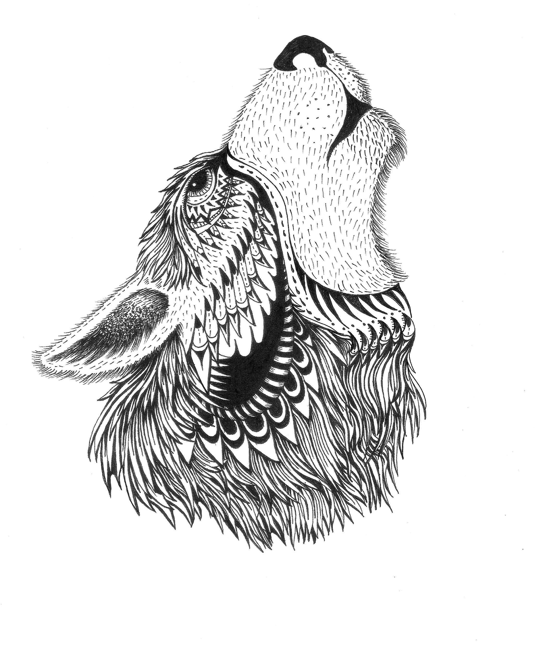 Wolf Dream Catchers Drawings geometric wolf tattoos...