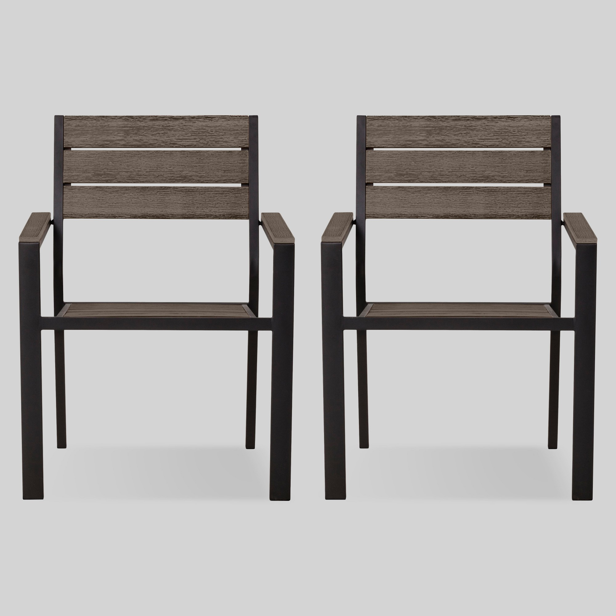 Mantega 2pk Faux Wood Patio Dining Chairs Project 62