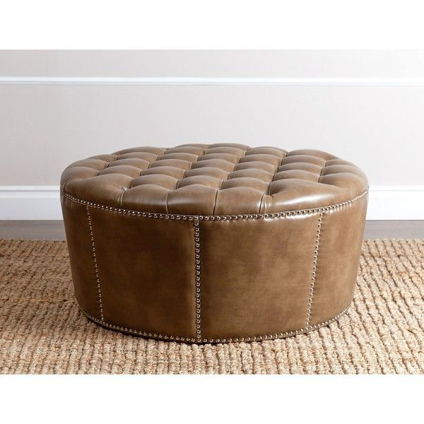ABBYSON LIVING Newport Brown Leather Nailhead Trim Ottoman   Overstock  Shopping   Great Deals On Abbyson