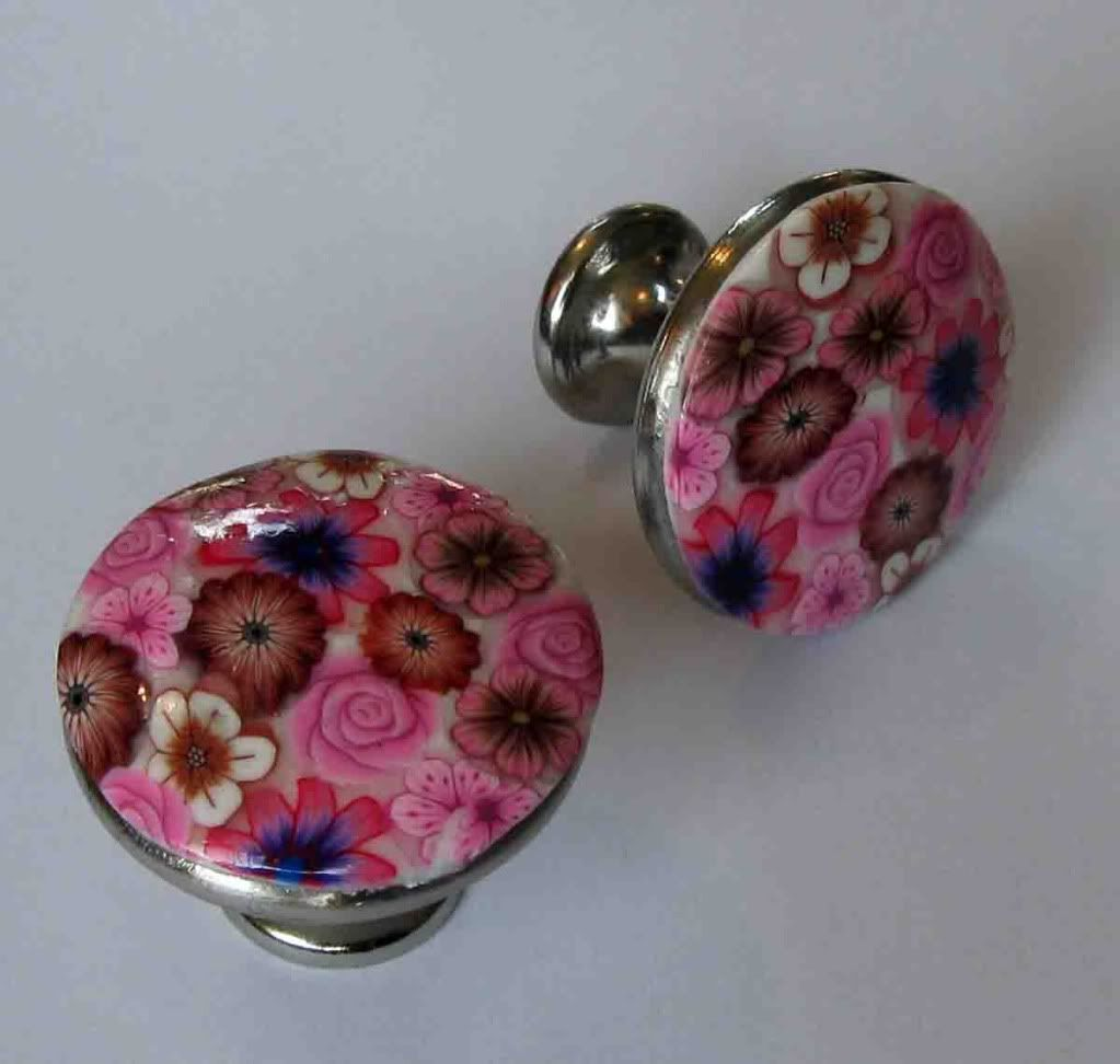 Unique Drawer Pulls | Beautiful Floral Handmade Drawer Pulls Glossy Pull Surface