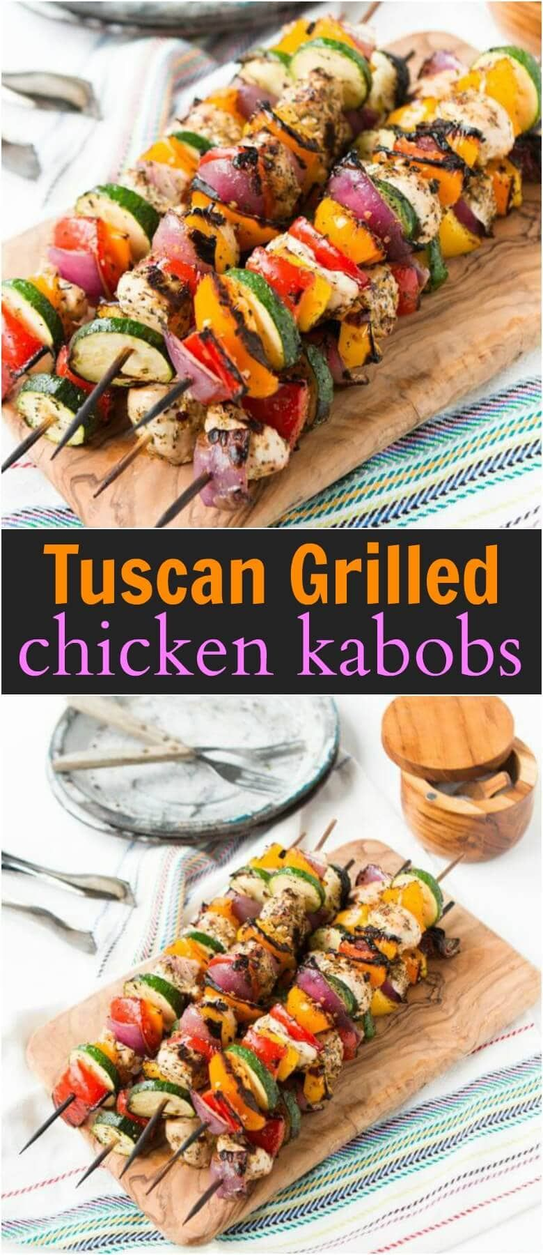 Tuscan Grilled Chicken Kabobs - Oh Sweet Basil