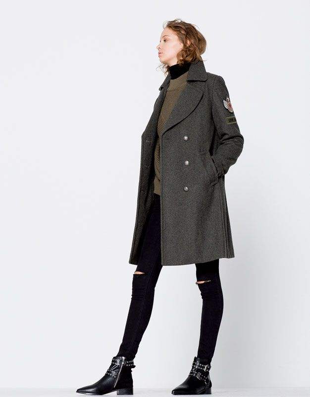 military coat coats and jackets clothing woman. Black Bedroom Furniture Sets. Home Design Ideas