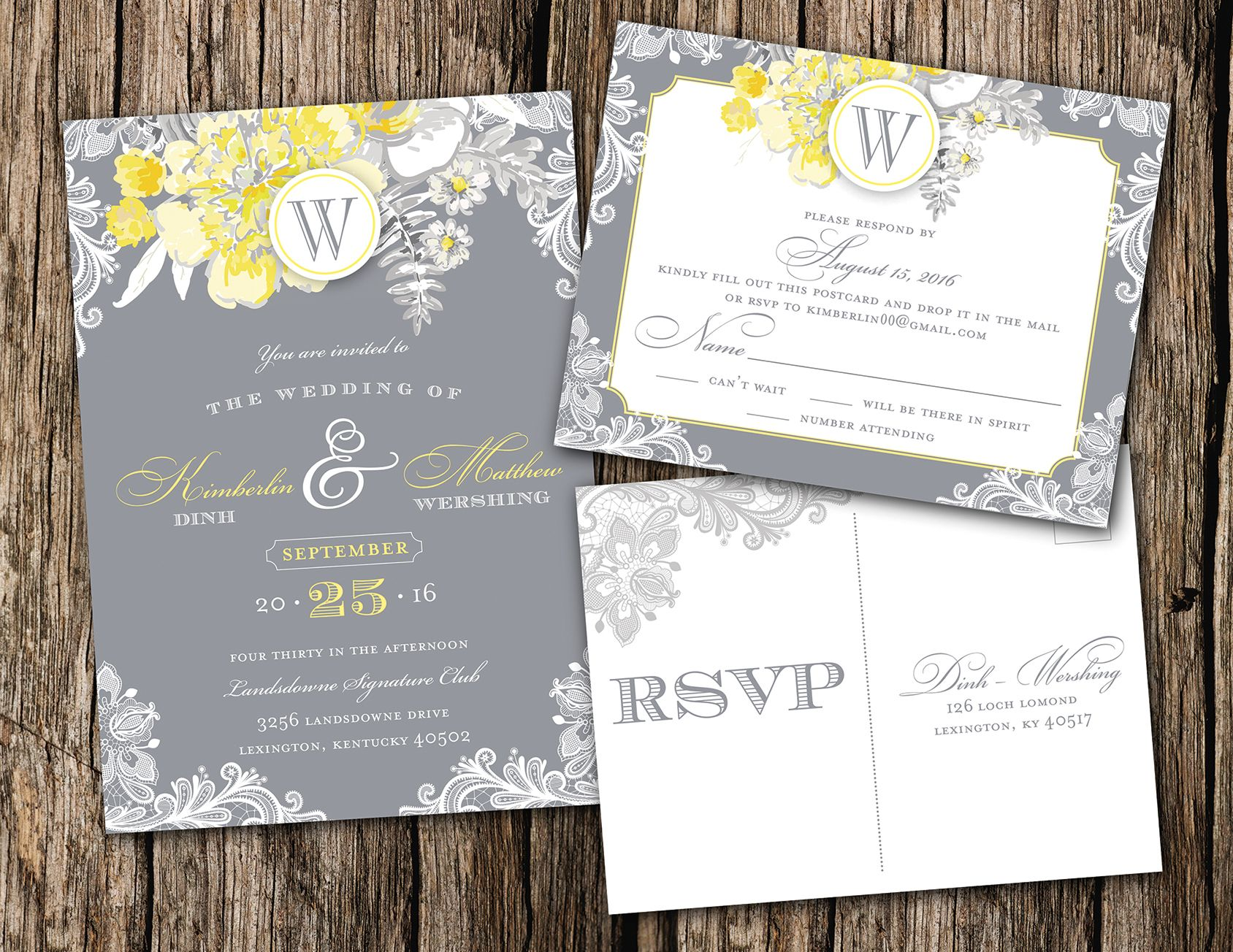 Fl Lace Theme Wedding Invitation