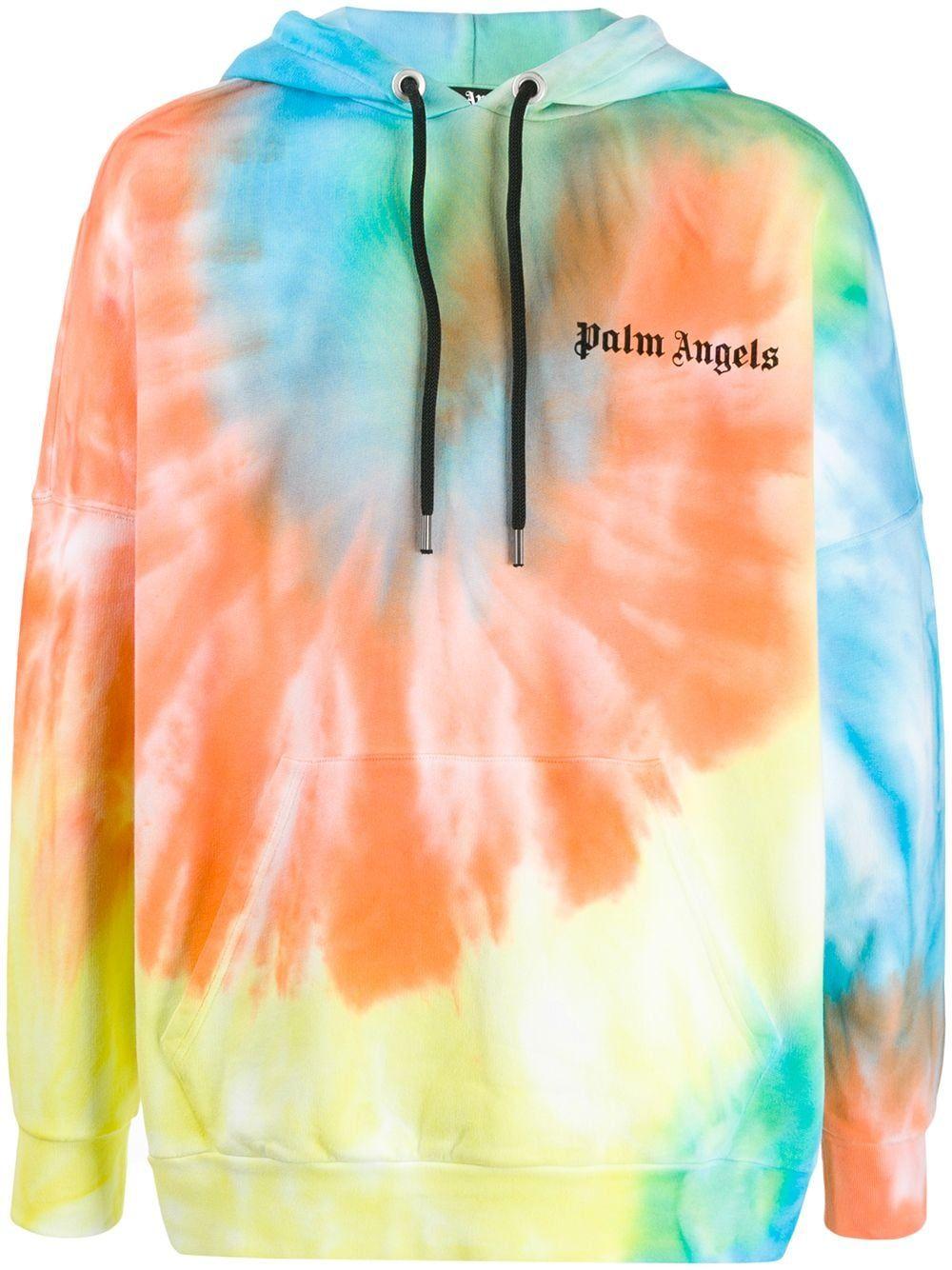 Palm Angels Tie Dye Logo Print Cotton Hoodie Farfetch Tie Dye Tie Dye Outfits Tie Dye Shirts [ 1334 x 1000 Pixel ]