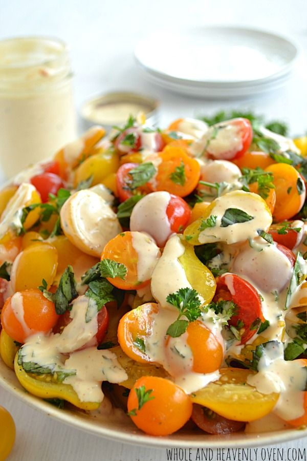 Dress this colorful Herbed Cherry Tomato Salad with #Homemade Buttermilk Ranch Dressing!