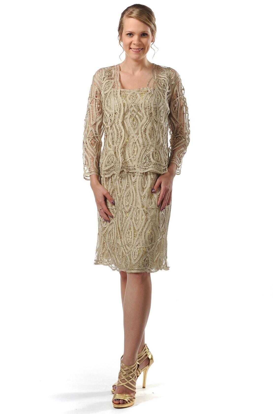 Plus size jacket dress for wedding  Soulmates D Crochet Beaded Silk Lace Knee Length  pc Jacket