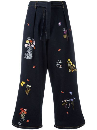 Vivetta 'Guanaco' Embroidered Cropped Jeans 70 £360.00
