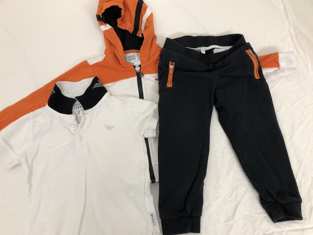 612f3e4da8b20 Mixed Lot of 3 Boys Items 2T Armani Junior Hoodie T-shirt And Pants ...