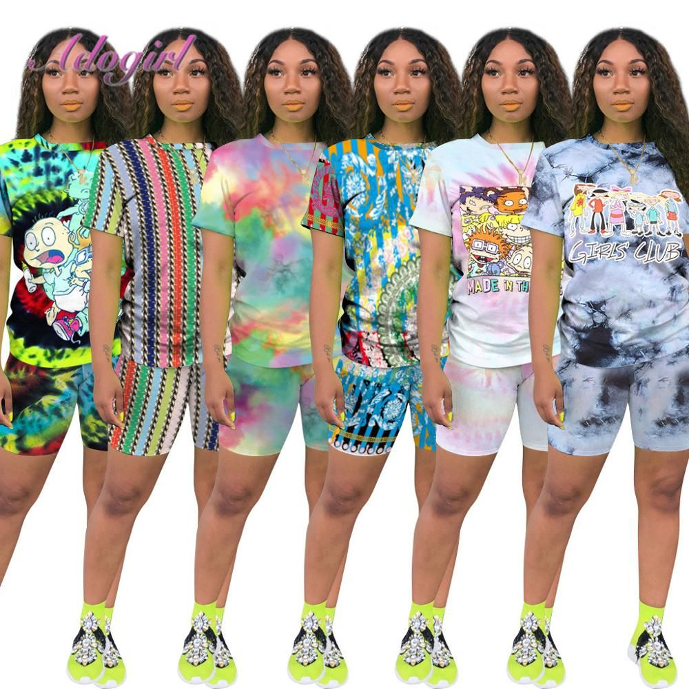 Two Piece Outfits for Women Shorts Summer Printed T Shirts and Shorts Athletic Tracksuits Set