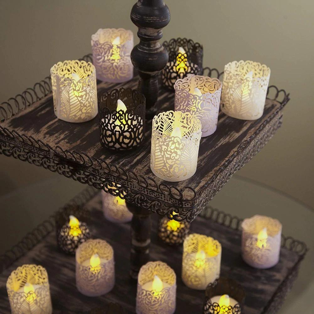 6pcs Laser Cut LED Tea Light Votive Candle Holders Wedding Xmas Party Decoration