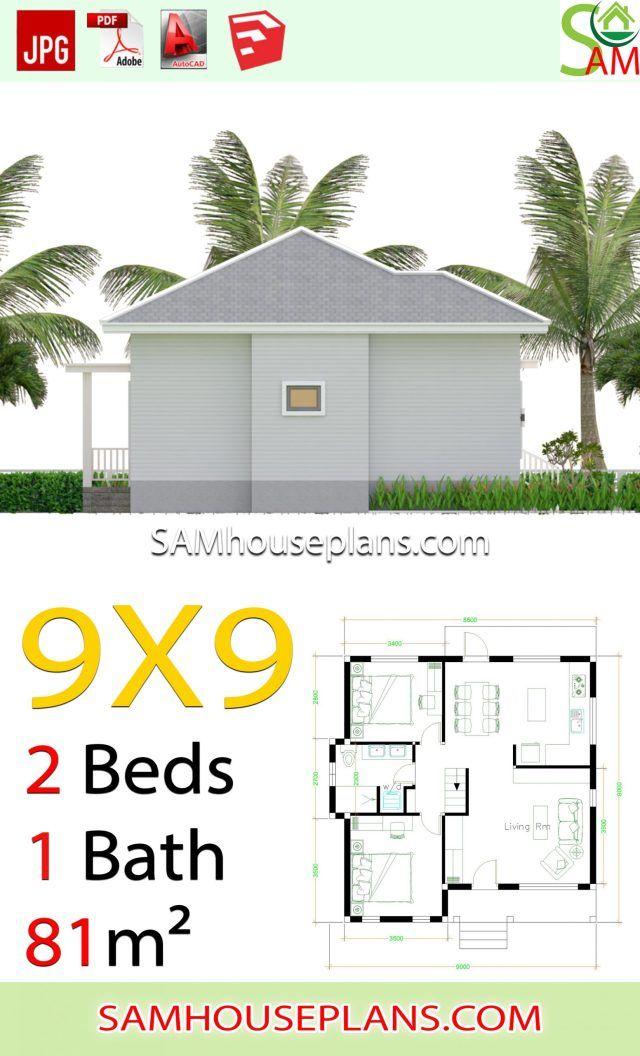 9x9 Room Design: House Plans 9x9 With 2 Bedrooms Hip Roof En 2020