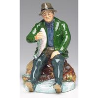 ROyal Doulton figurines, A Good Catch, 5 inches wide x 7.5 inches high