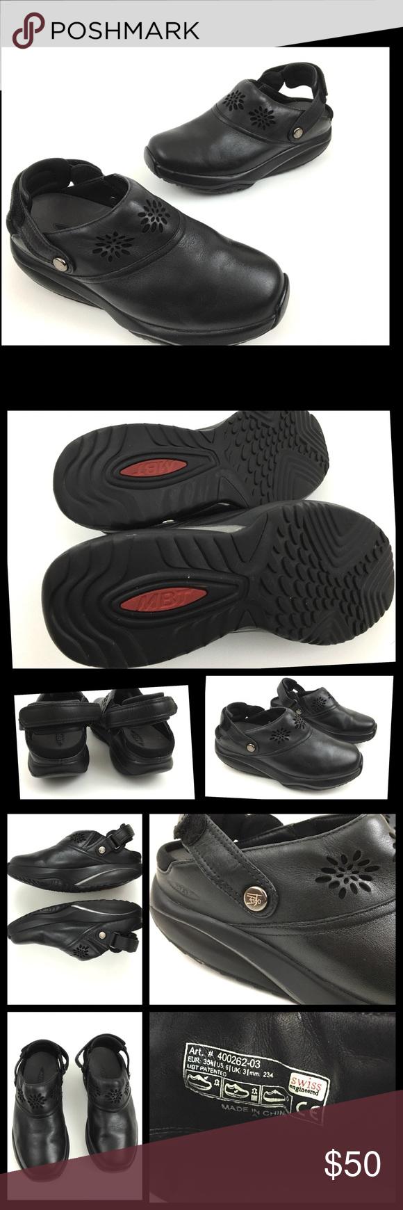 41d5d6ce2e02 MBT Kipimo Black Leather Mule Shoes MBT Kipimo Black Leather Slip On Mule Shoes  Women s Size 6 Nice Pre Owned Shoes