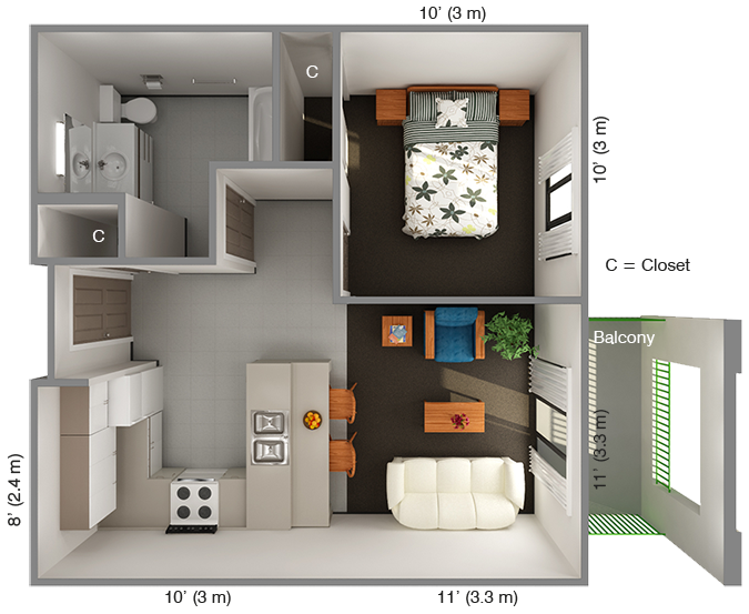 International House 1 Bedroom Floor Plan: Top View