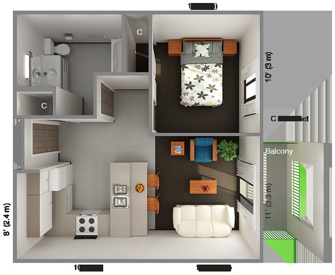 International House 1 Bedroom Floor Plan Top View 1