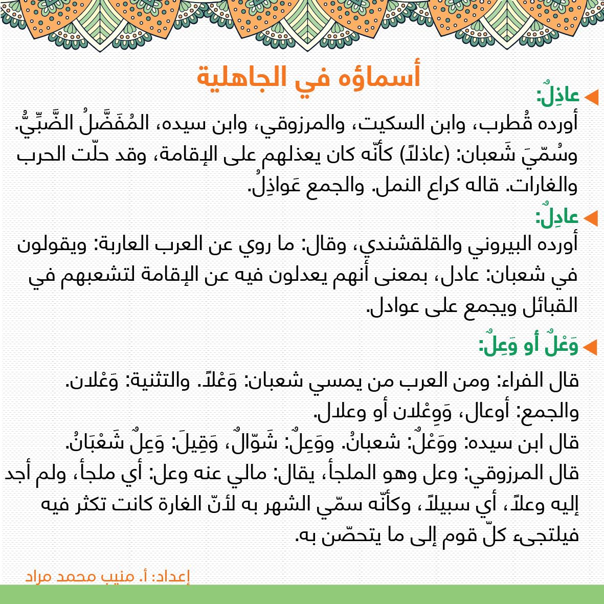 أسماء شهر شعبان في الجاهلية Ramadan Bullet Journal Journal