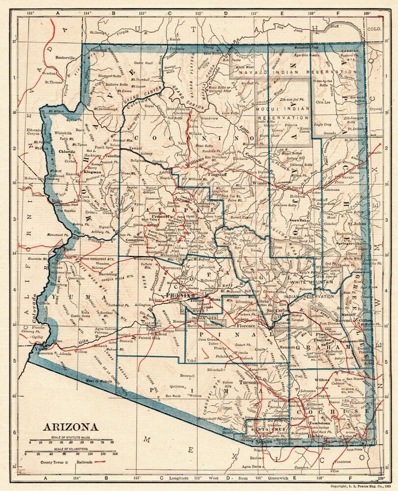 1921 Antique ARIZONA Map Vintage Map of Arizona State Map Gallery ...