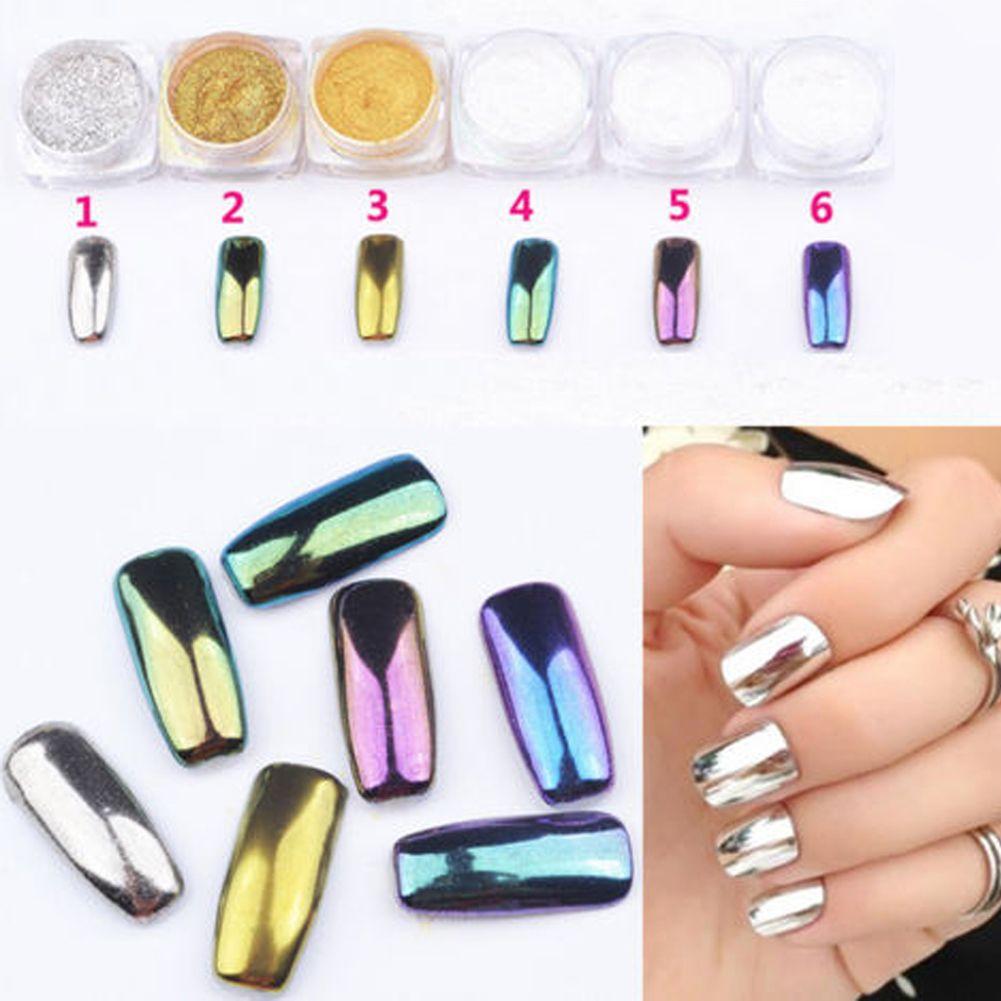 6 Colores Brillo Espejo Efecto Del Brillo Del Polvo de Uñas de Arte ...