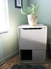 This little end table is a well-hidden litter box.  Genius!