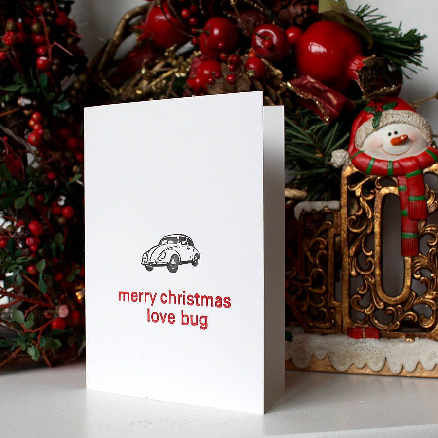 merry christmas love bug card by do you punctuate? | notonthehighstreet.com