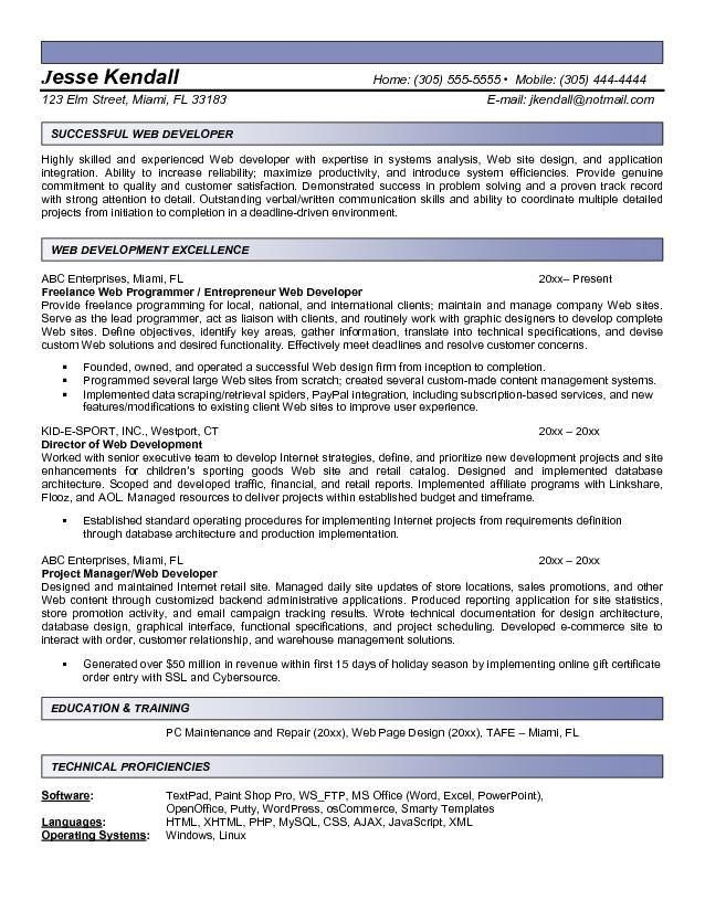 Ecommerce Developer Resume Format Resume Format Pinterest