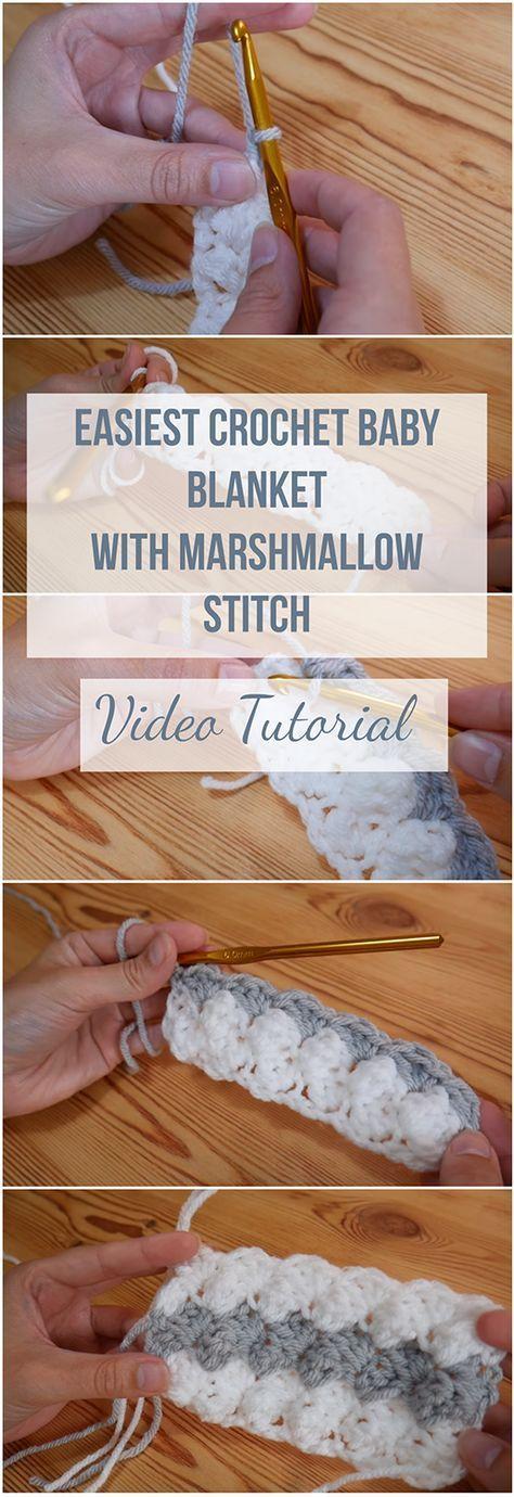 Am einfachsten häkeln Babydecke mit Marshmallow Stitch + Video Tutorial  # #babyblanket