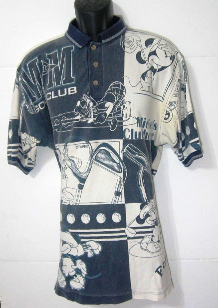 Disney Store Men Golf Shirt L Mickey Goofy Donald Duck Grey White ZBNi #Disney #PoloRugby