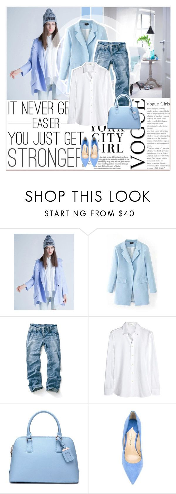 """""""Blue Feeling"""" by lucky-1990 ❤ liked on Polyvore featuring Yves Saint Laurent, DUDU and Paul Andrew"""