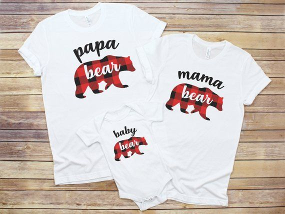 c409d436b1 Christmas family pajamas matching shirts red plaid bear set custom mama bear  papa bear holiday bear buffalo plaid pyjamas pjs