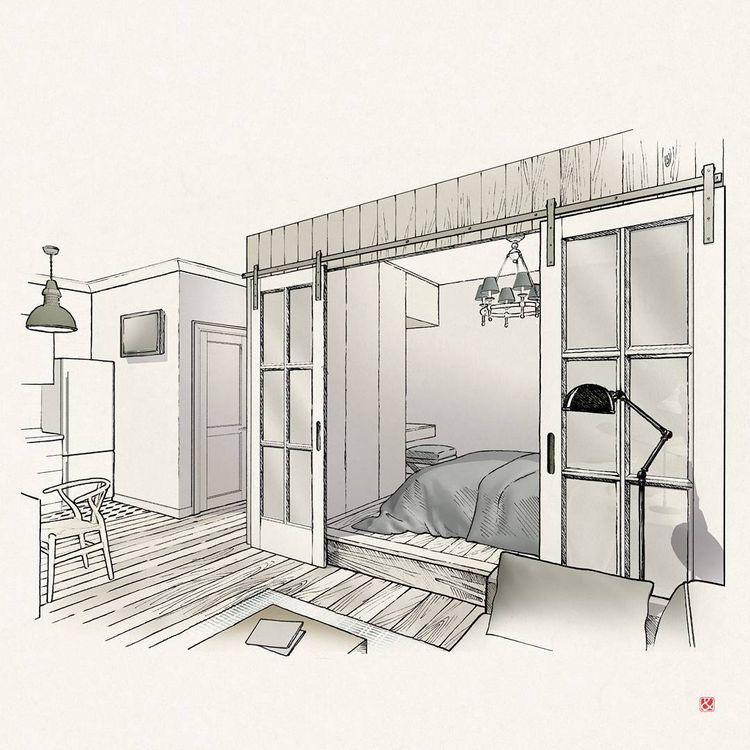 Pin von delia cr mu auf drawing pinterest entwurf for Innenraumdesign studium