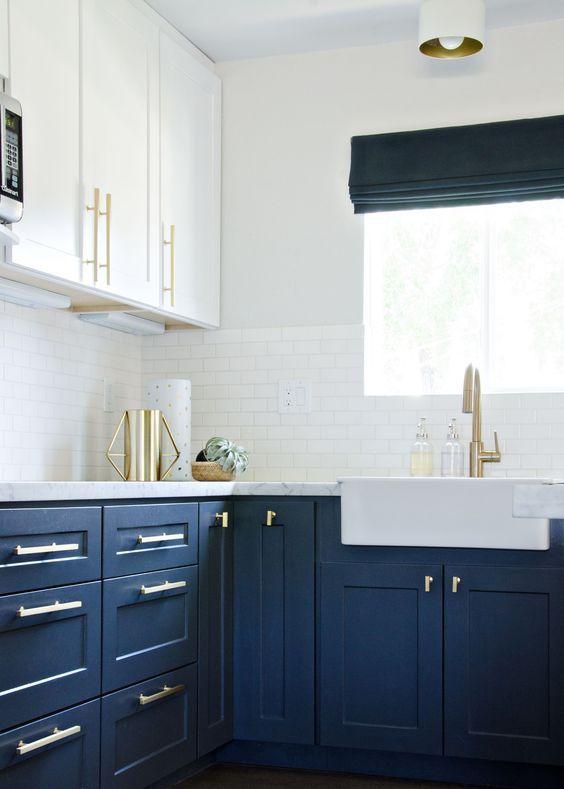 Navy Kitchen With Gold Accents Brittanymakes Modern Kitchen Remodel Blue Kitchen Cupboards Navy Kitchen Cabinets