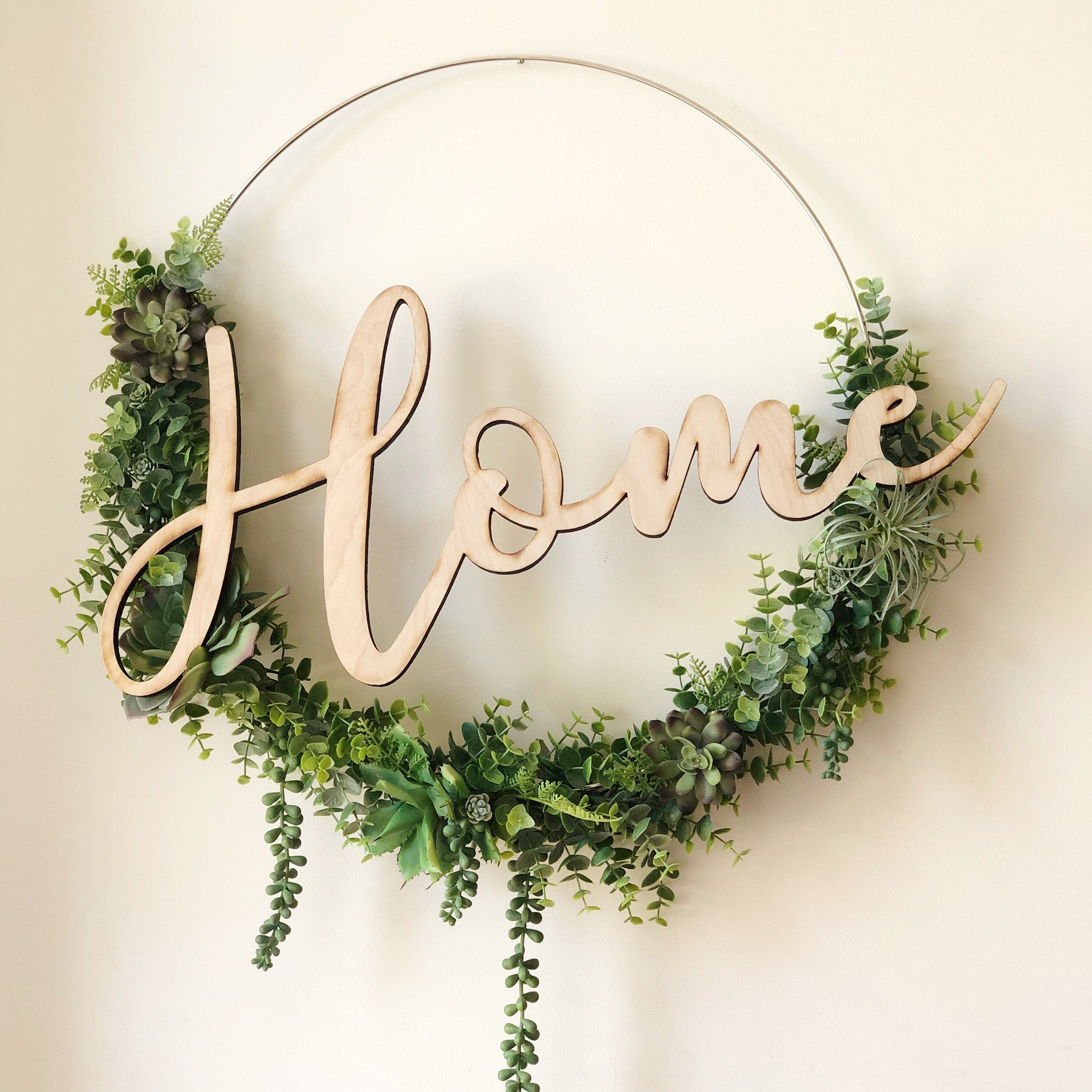 """Photo of 19 """"Succulent wreath, modern tire wreath with artificial succulents, wreath in modern style, wreath in farmhouse style, wreath for succulents at home"""