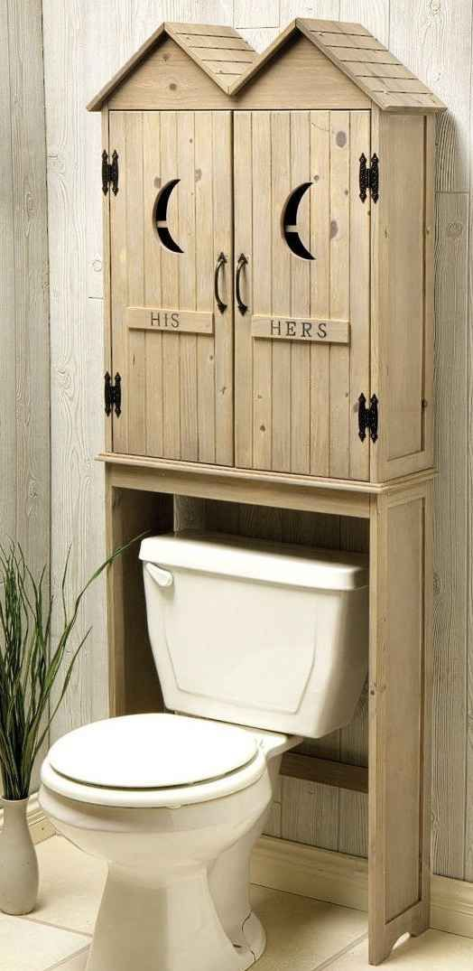RUSTIC OUTHOUSE BATHROOM DECOR SPACE SAVER TOILET SHELF