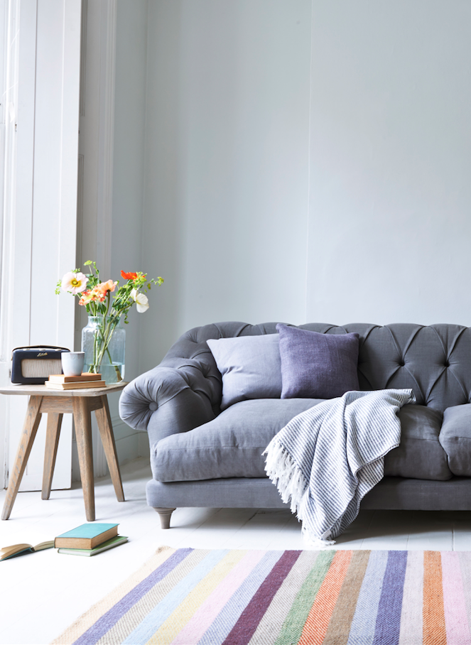High Quality Loafu0027s Comfy Grey Linen Bagsie Chesterfield Sofa In This Light And Airy  Living Room