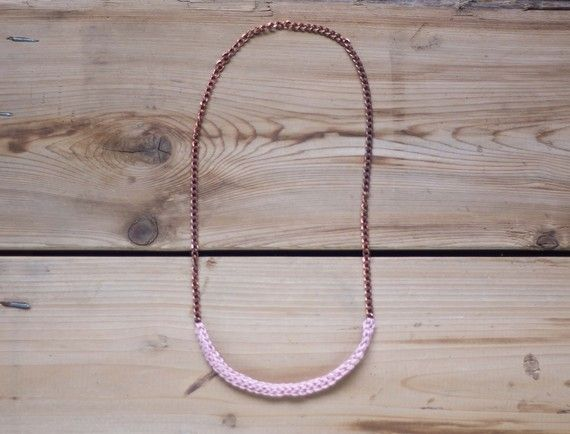 vintage copper chain necklace featuring a section of crocheted stitching
