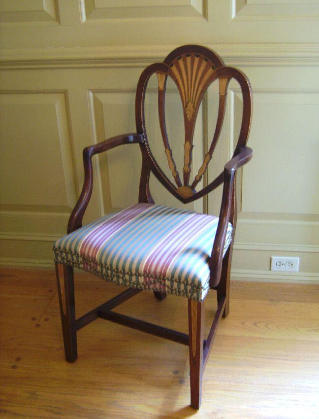 Baker American Federal Style Inlaid Arm Chair Silk