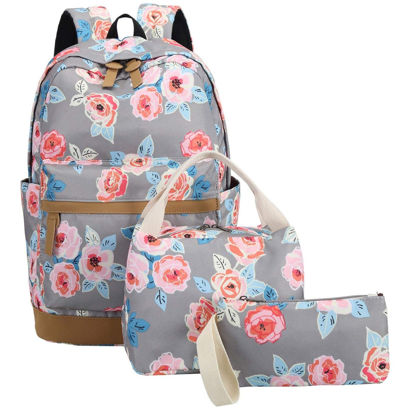 2781349e54a3 BLUBOON Teens Backpack Set Girls Women School Bags Laptop Rucksack Bookbags  3 in 1 (Gray
