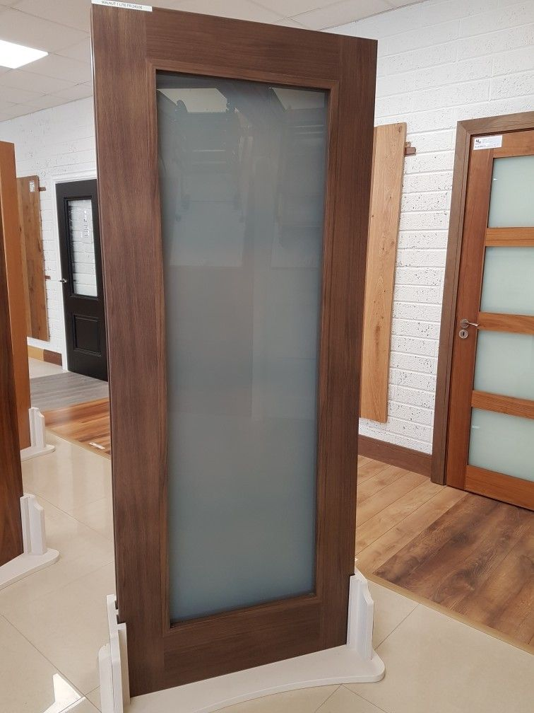 Walnut Shaker Opaque Frosted Glass Glass Bathroom Door Door Glass Design Glass Bathroom
