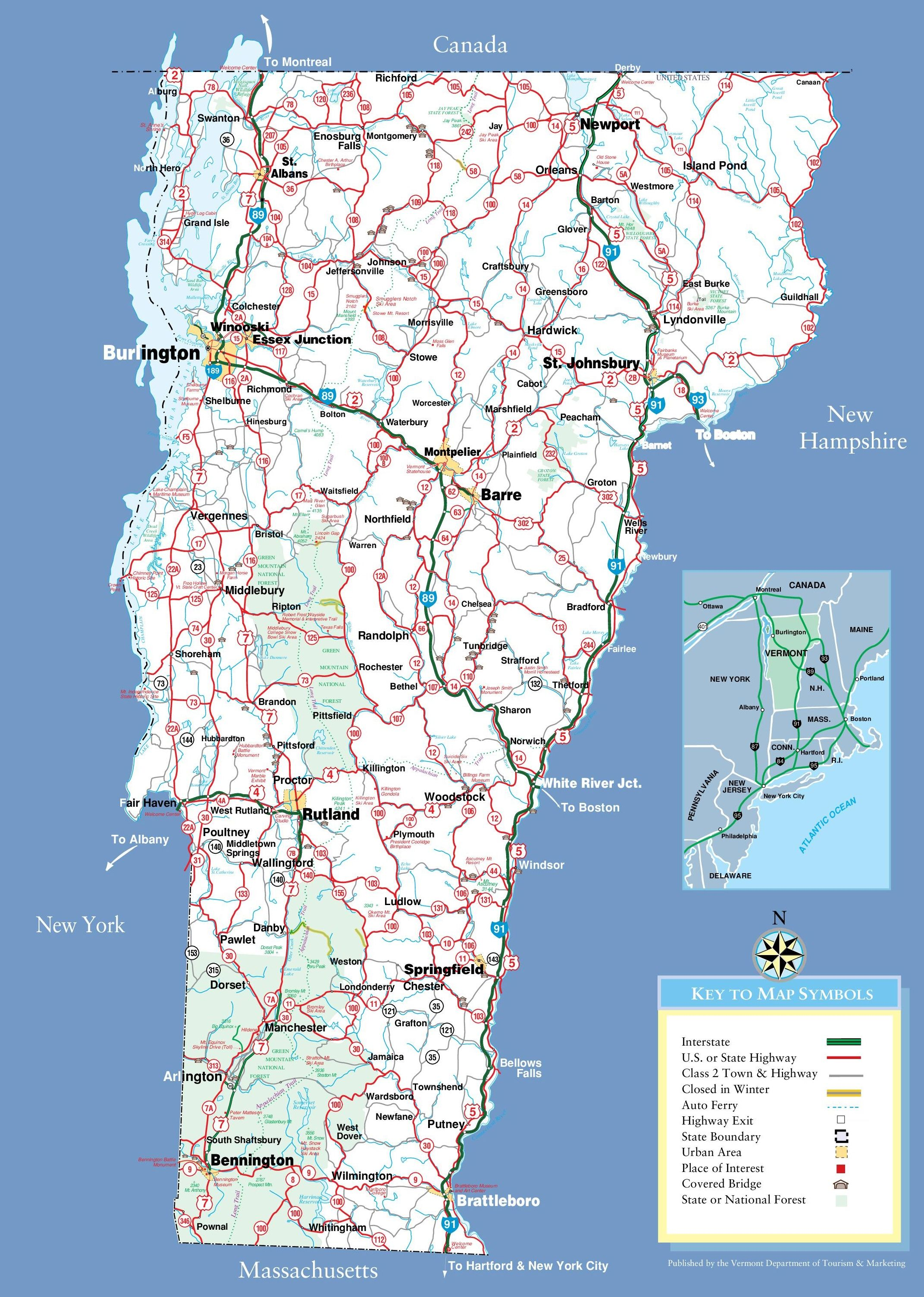 Large detailed tourist map of Vermont with cities and towns   fall ...