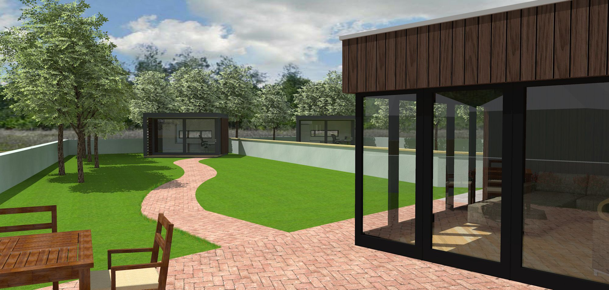 small 2 unit housing development with outside office space coylton rh pinterest com outdoor office spaces small outside office space