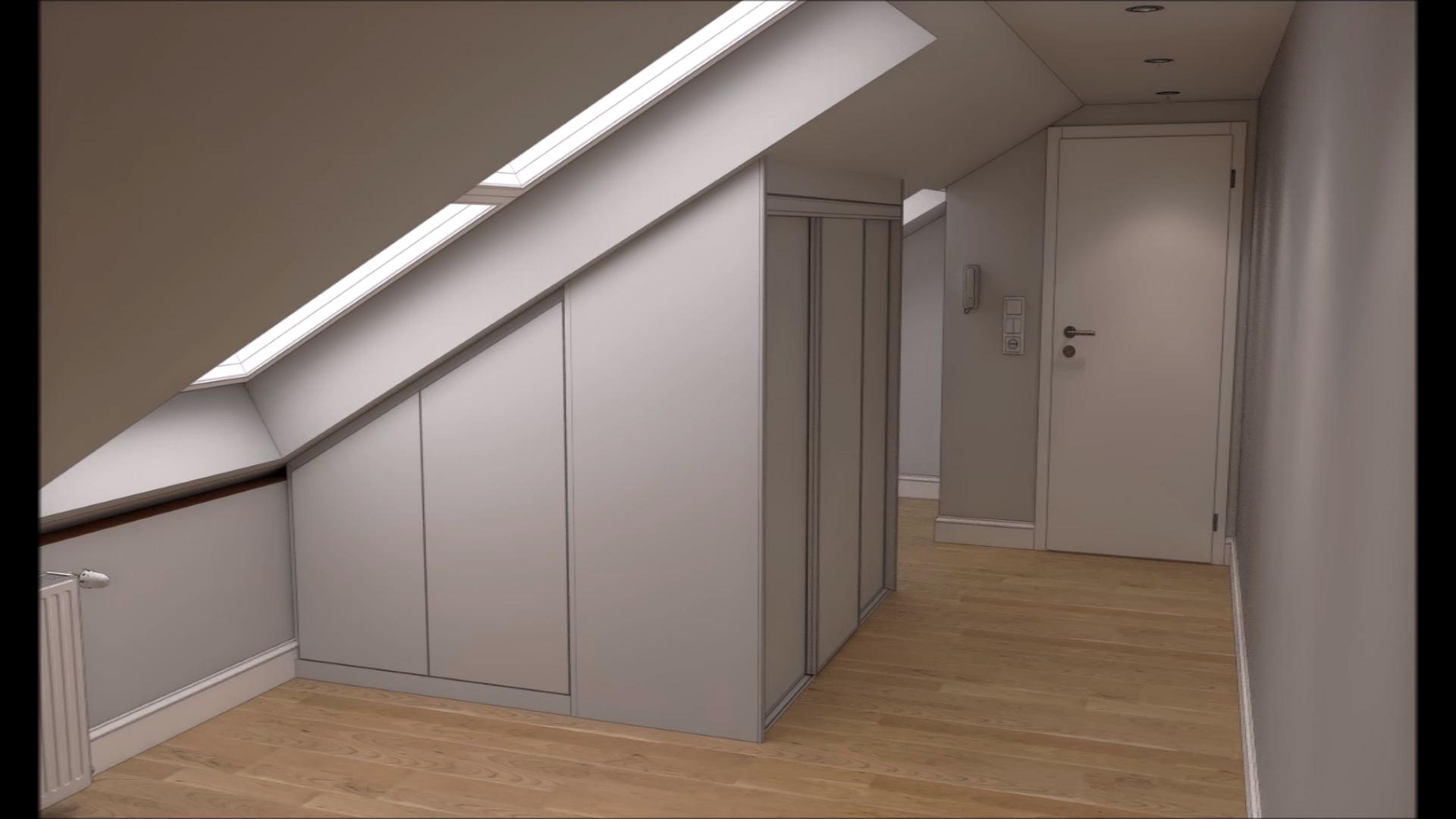 Schrank in enger Wohnung mit Dachschrägen