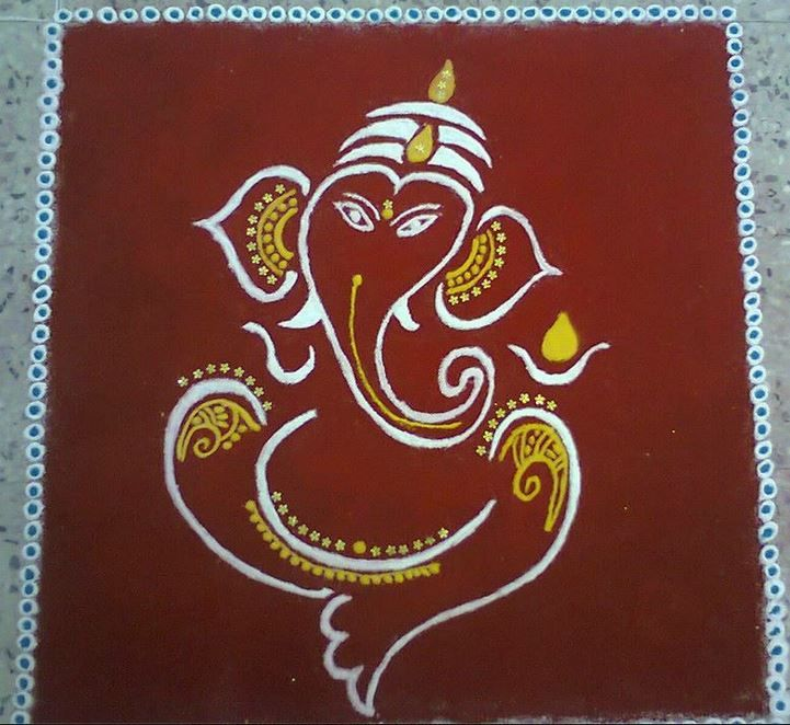 Ganpati Rangoli Designs for Competition | diwali ...